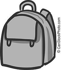 School bag, illustration, vector on white background.