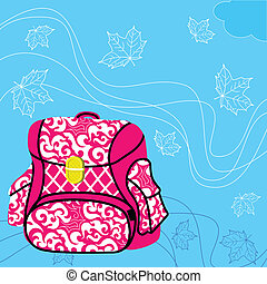 School bag. Blue background, flying maple leaves.