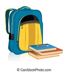 School Bag with Book and Pencil