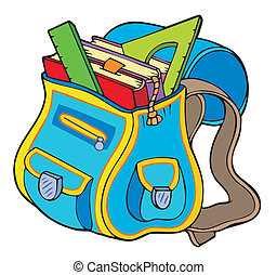 School bag with books - vector illustration.