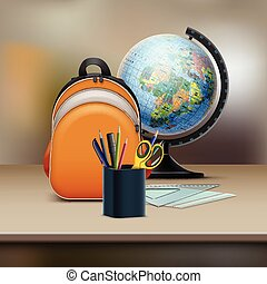 School bag with globe