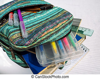 School bag with textbooks, notebooks and other educational accessories. Felt pens are in the pocket of the backpack. A ruler and pencil case are in the department along with notebooks and textbooks.