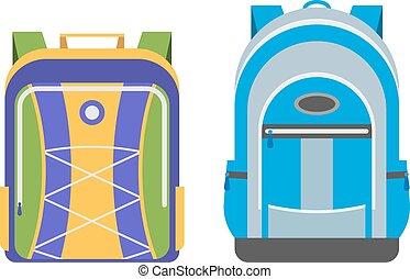 Kids school bags isolated on white background. Cartoon style school bags handle strap sack, textile rucksack. School bags children equipment. School supplies educational full schoolbag adventure.