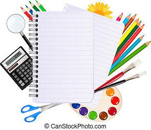 school., baksida, skola, anteckningsblock