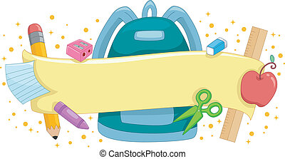 School Banner - Banner Illustration Featuring a Schoolbag...