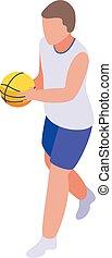 School basketball player icon, isometric style