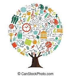 school, begrip beelden, boompje, opleiding, onderwerp