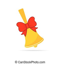 School bell with red bow. Vector illustration.