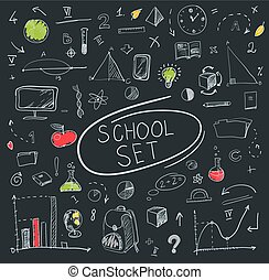 school big set on blackboard. Vector illustration.