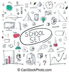 school big set on blackboard. Vector illustration.