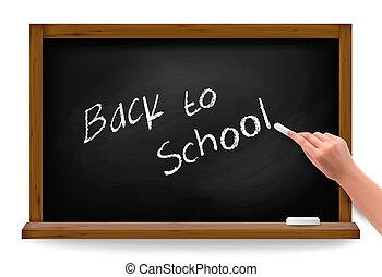 school., blackboard., back, schrijvende , vector, hand