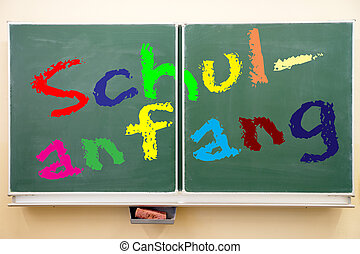 starting school - school blackboard with the german words...