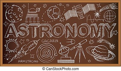 School board doodle with astronomy symbols. Vector illustration