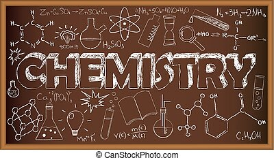 School board doodle with chemistry symbols. Vector illustration