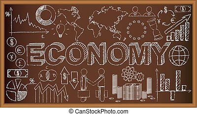 School board doodle with ecomony symbols. Vector illustration