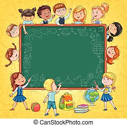 School board for your text Funny kids and drawings with chalk on yellow background