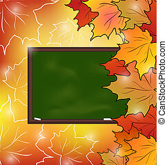 School board with maple leaves, autumn background