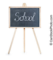 School board with writing on it the word