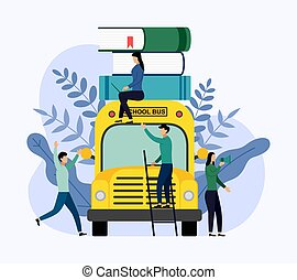 school boekt, illustratie, vector, stapel, bus, opleiding