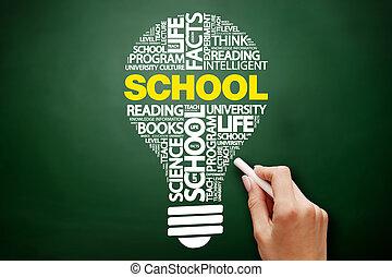 school, bol, woord, wolk