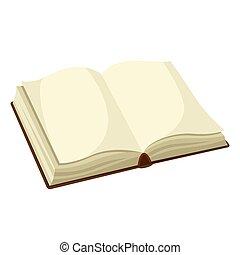 school, book., illustratie, leeg, opleiding, open