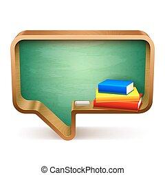 School Books and Blackboard