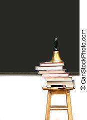 School books on stool
