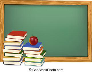 School books on the desk. Vector. - Back to school. Green ...