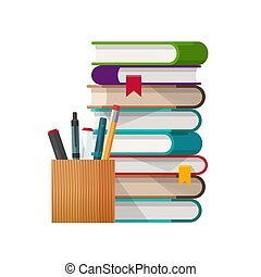 School books stack with pens and pencils glass flat cartoon vector illustration isolated on white, concept of education or library study time clipart