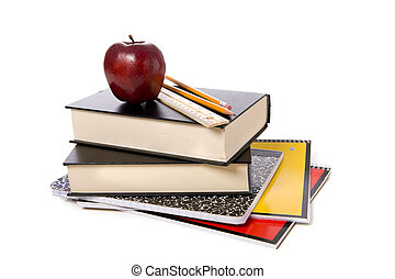 School Books with Apple