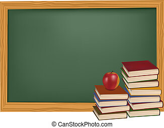 School books with apple in front of the blackboard. Vector.