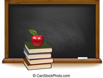 School books with apple on desk. School board background....
