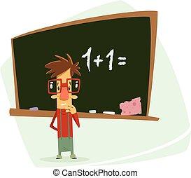 school, bord, pupil, beklemtoonde, voorkant, gefrustreerde, spotprent, geitje