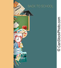 school border background with chalkboard, graduation cap, supplies, education workplace accessories. vector illustration