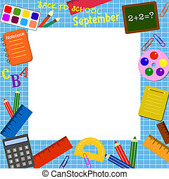 Colorful border (frame) with the school objects
