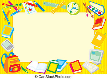 School border - Vector frame with school objects
