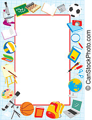 School border - Vector frame with school objects, on a white...