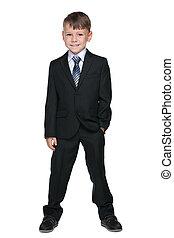School boy against the white