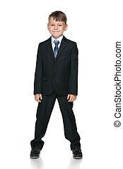 School boy against the white background