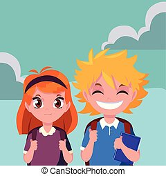 school boy and girl with bags outdoors