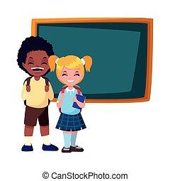 school boy and girl with chalkboard