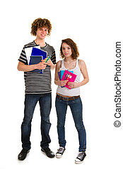 young attractive couple at school with exercise books