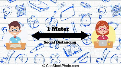 Animation of pictograms of social distancing with multiple floating school pictograms in the background. Education back to school concept digitally generated image.