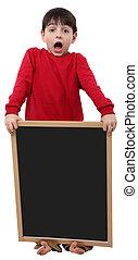 School Boy Blank Sign