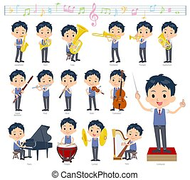 A set of school boy on classical music performances.There are actions to play various instruments such as string instruments and wind instruments.It's vector art so it's easy to edit.