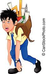 school boy carrying heavy school bag on white background.