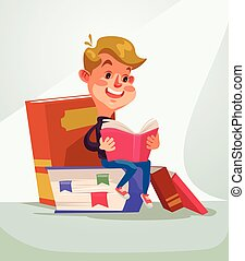 School boy character reading book. Vector flat cartoon illustration
