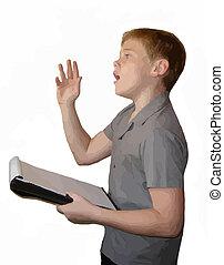 School boy delivering speech