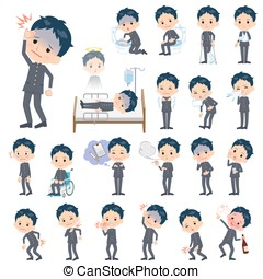 school boy gakuran About the sickness - Set of various poses...