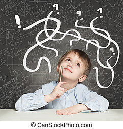 School Boy has an idea. Education Concept with question signs